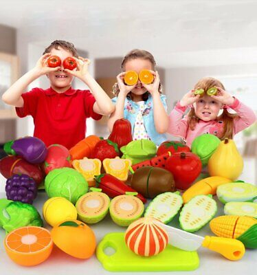 18 pcs Kids Pretend Role Play Kitchen Fruit Vegetable Food Toy Cutting Set Child