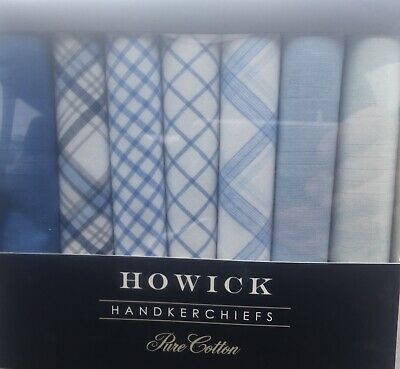 Father Day  Gift Howick Pure Cotton Blue/white Handkerchiefs 7 pack