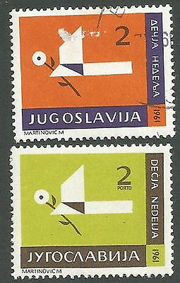 Yugoslavia Scott#s RA26 & RAJ23, Bird Holding Flower Tax Stamp, Used/Unused 1961