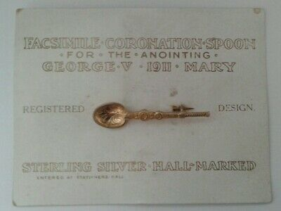 Carded Sterling Silver Gilt King George V 1911 Coronation Anointing Spoon Brooch