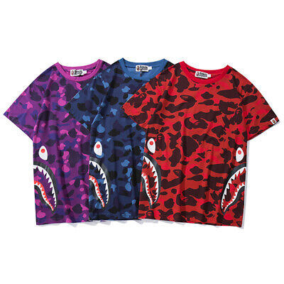 12e4e7da Lovers Bape A Bathing Ape T-shirt Camo Shark Head Casual Short Sleeve Tops  Tee