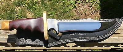 David Grant Traditional Fixe Blade Knife  w/  Rosewood Handle & Leather Sheath