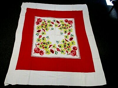 """VINTAGE COTTON KITCHEN TABLECLOTH w RED FLOWERS YELLOW DOGWOOD BLOSSOMS 48""""x 58"""""""