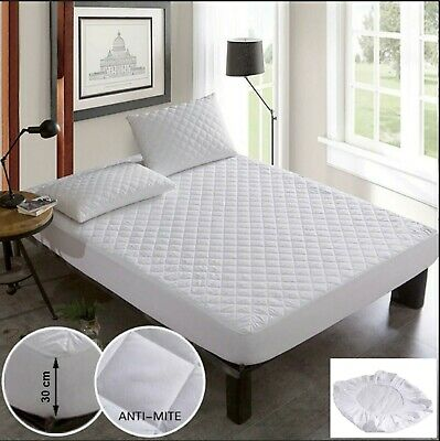 "12"" Extra Deep Fitted Quilted Mattress Protector Small Double King Size Matress"