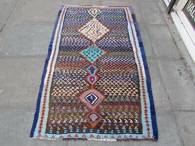 Old Traditional Hand Made Persian Oriental Blue Brown Cotton Kilim 184x111cm