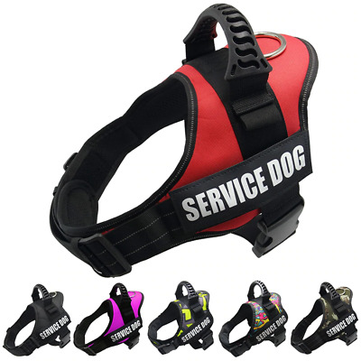 Service Dog Harness Vest Adjustable Patches Reflective Small Large Medium Card