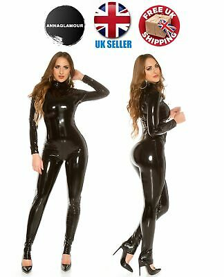 57769b6f5 Sexy Black Latex Vinyl Rubber PU Leather Wet Look Shiny Catsuit Jumpsuit 8