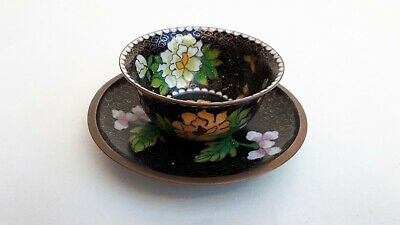 Beautiful Chinese Cloisonne Enamel Pink Yellow  Peony Blossom Cup & Saucer