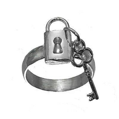 Lock and Key Ring Split keep for yourself share with Love Sterling Silver 925