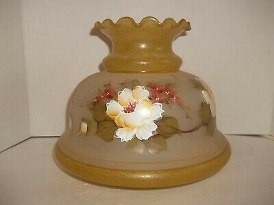 """Vintage Quoizel Student Hurricane Oil Lamp Shade Hand Painted Glass 6.75"""" Fitter"""