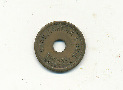 Z 123   Trade Token  Brass 5C Bisbee Az Arizona Chas Wahtola And Bell