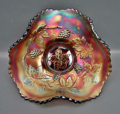 """Fenton VINTAGE Amethyst Carnival Glass Tri-Corner Whimsey from 7"""" Plate 6686"""