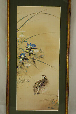 Vintage Japanese Woodblock Print Bird Matted & Framed