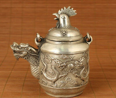 Rare Old Copper plated silver Hand Carved dragon cock lid Statue Tea Pot