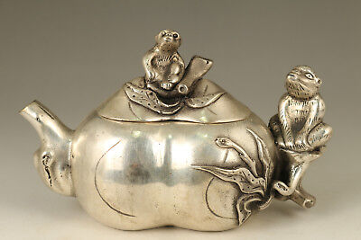 Rare Old Copper plated silver Monkey Fortune calabash Statue Tea Pot decoration