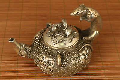 Chinese Old Copper plating silver Hand-Carved mouse steal oil  Statue Tea POT