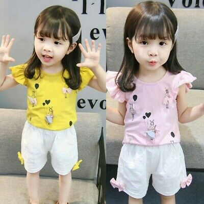 Children Toddler Kids Baby Boy Girl 3D Cartoon Tops T-shirt Shorts Outfits Set