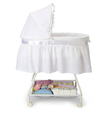 Bassinet Baby Girl Boy Bedside Sleeper White Canopy Storage Basket Infant NEW