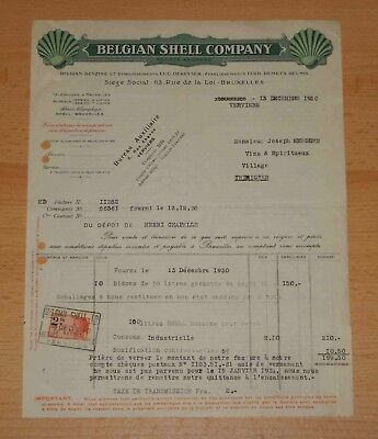 SHELL Belgian Company : Facture 100 L Benzine (essence, gas) 1930 *