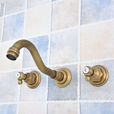 Antique Brass Wall Mount Bathroom Sink Faucet Tub Two Handles 3 Holes Tap fsf528