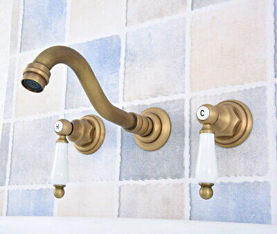 Antique Brass Wall Mount Bathroom Sink Faucet Tub Two Handles 3 Holes Tap fsf529