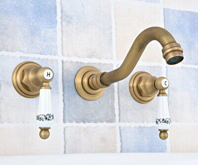Antique Brass Wall Mount Bathroom Sink Faucet Tub Two Handles 3 Holes Tap fsf530