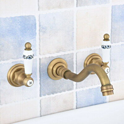 Antique Brass Wall Mount Bathroom Sink Faucet Tub Two Handles 3 Holes Tap fsf531