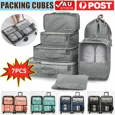 AU 7pcs Packing Cubes Luggage Storage Organiser Travel Compression Suitcase Bags