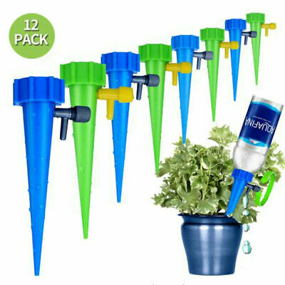 12Pcs Plant Water Funnel Self Watering Spikes Slow Release Control Valve Switch
