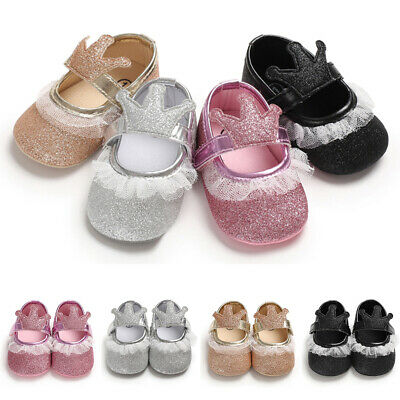 Newborns Crib Shoes Baby Girls Lace Prom Pre-walker Christening Party Trainers