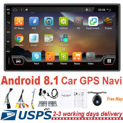2Din Android 8.1 Car Stereo Radio GPS Navi Bluetooth FM Player Touch Screen+Cam