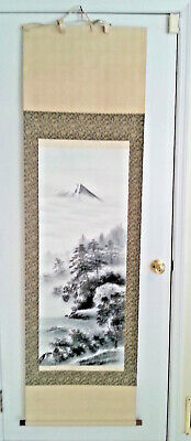 """Vintage Asian Wall Art Scroll - Moutain, Lake, Trees - 6' x 21""""  Signed"""