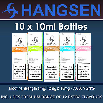 10 X 10ml HANGSEN E LIQUID JUICE ECIG ELIQUID REFILL VAPE - 6 12 18MG FULL RANGE