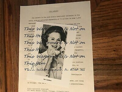 Ann Landers Original Autographed Photograph With Biography Letter Field News