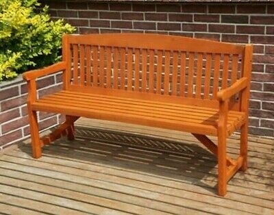 3 Seater Wooden Garden Bench Outdoor Patio Park Seating Furniture Traditional