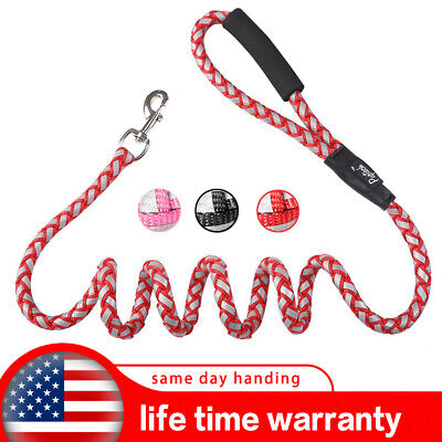 Reflective Braided heavy duty Rope dog leash lead for large breed Dogs Training