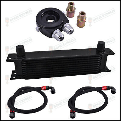 BLACK - AN10 10-Row Oil Cooler Kit | Braided Hoses | Sandwich Plate | UK Stock