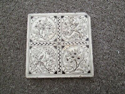 Victorian Minton Tile - Birds And Flowers