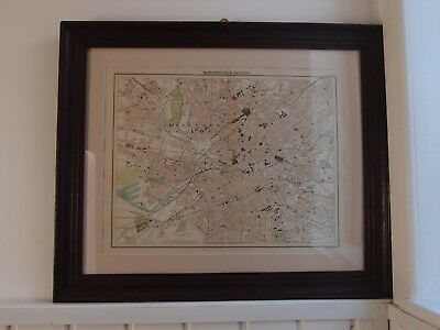 Original 1895 Victorian Manchester Salford Map City Plan In A Victorian Frame