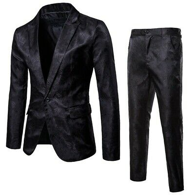 Mens 2-Piece Suits Occidental Jackets Pants Lapel One button Slim Nightclub Chic