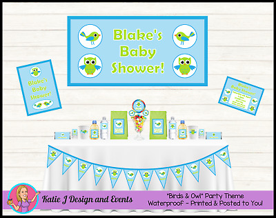 Personalised Boys BIRDS & OWL Baby Shower Decorations Favours Supplies Owls