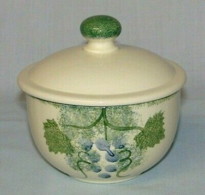 Poole Pottery VINEYARD COVERED SUGAR BOWL - Hand Painted ~ Made in the UK