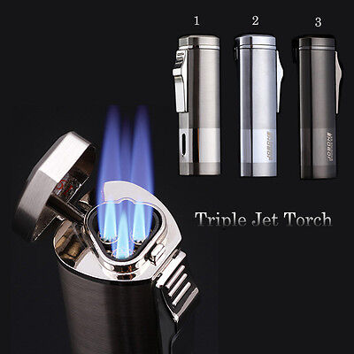 Hot Jobon Triple Jet windproof Refillable Butane lighter Cigarette Cigar lighter