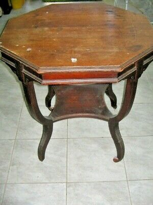 Late Victorian Octagonal Shaped Table On Original Castors Solid Wood PERTH Only