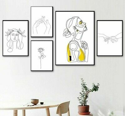 Wall Art Abstract Women Line Drawing Nordic Poster Prints Modern Canvas Painting
