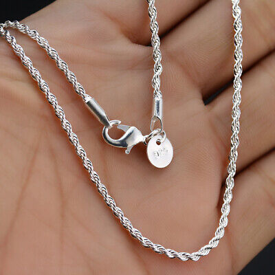 Lot 5/10pc 2MM 925 Sterling Silver Twisted Rope Chain Necklace Women Men Jewelry
