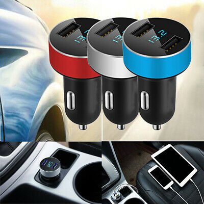 3.1A Dual USB Car Charger adapter 2 Port LCD Display Voltmeter 12-24V Socket