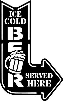 Ice Cold Beer Served Here Man Cave, Shed Or Bar Sign 20Cm