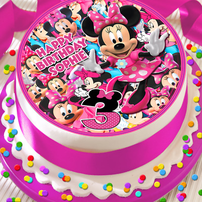 Minnie Mouse Happy Birthday Personalised 7.5 Inch Edible Cake Topper Bb037