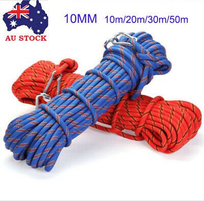 30M 10mm Climbing Rope Outdoor Safty Mountain Rescue Escape Rappelling Cord AU